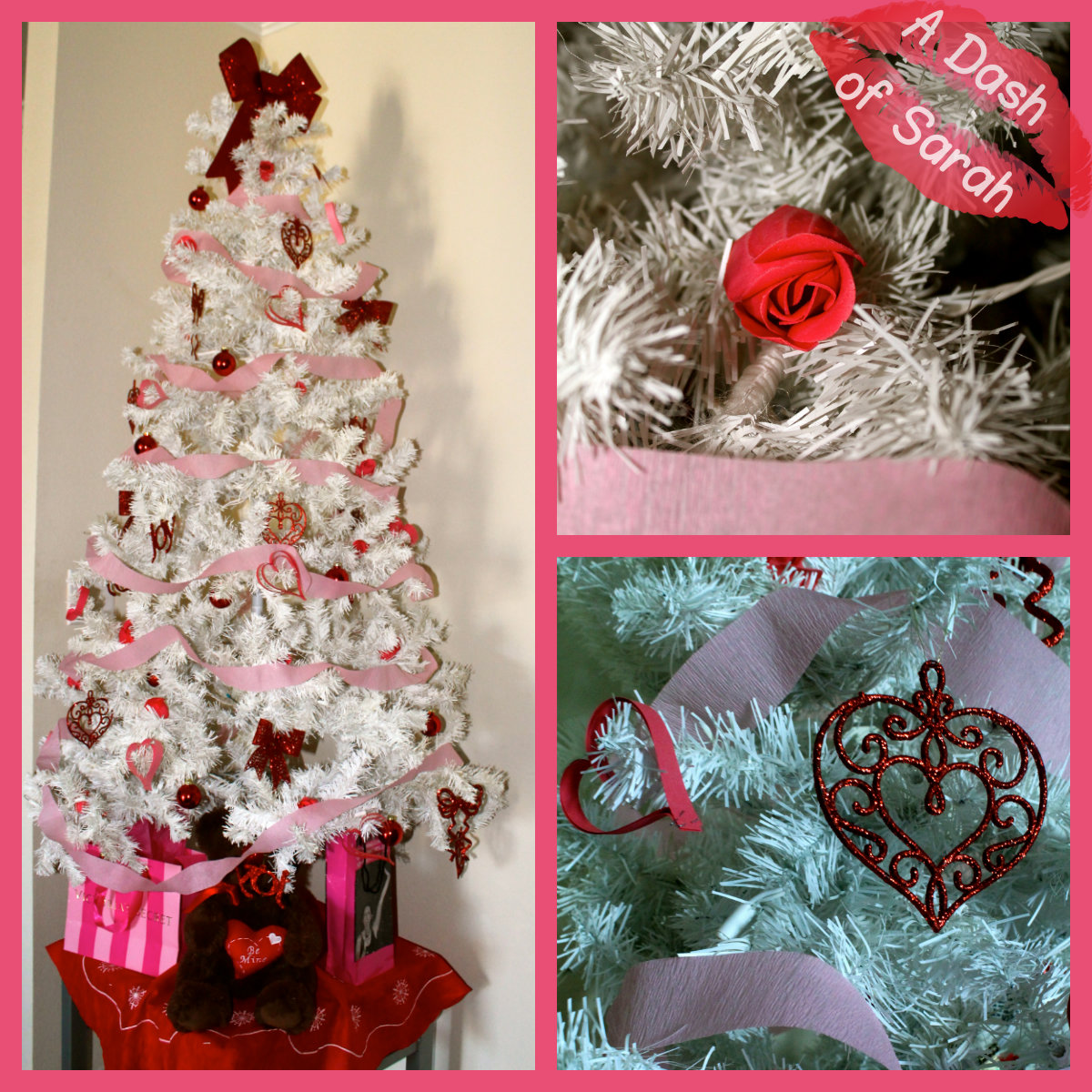 Valentine tree ornaments - I Decided To Spruce Up The Dining Table While I Was At It Adding Some Pink And White Artificial Flowers To A Red Vase And Showcasing Some Glittery Hearts