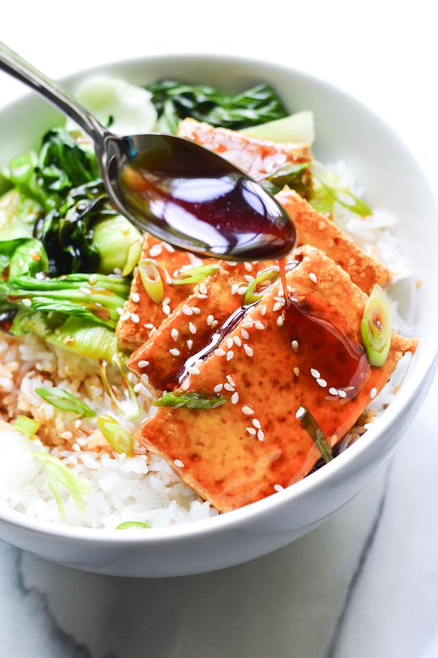 Crispy seared tofu glazed with a deliciously sweet teriyaki sauce!