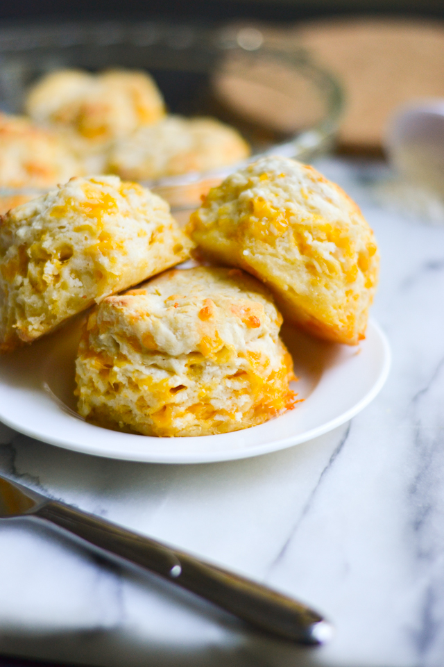 The PERFECT brunch biscuit! Pillowy soft and filled with cheddar cheese and garlic flavor.