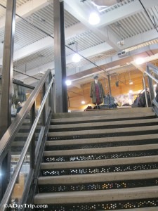 Going up the stairs at Urban Outfitters in Dedham