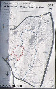 The trail map for Wilson Mountain Reservation for the red and blue trails.