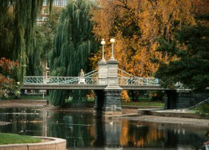 The suspension bridge on the Boston Public Garden is a romantic spot to take a significant other.
