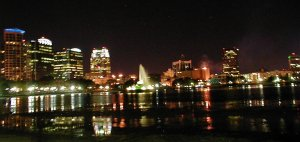 The skyline of Orlando, Florida.