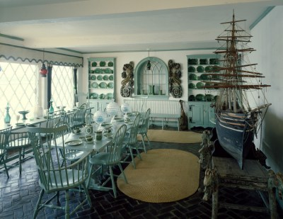 Sea foam green dining room that hosted seafood meals