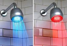LED heat sensitive shower