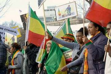 Ethiopians protest in front of the White House against the late PM Meles Zenawi during the early years of his government