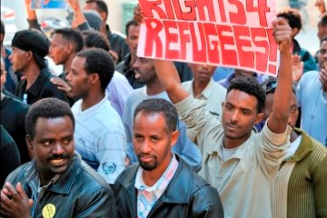 Caption: Darfur refugees protesting in Israel