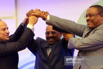 PM Hailemariam Desalegn Abdel Fattah Al-Sisi and Omar Al-Bashir