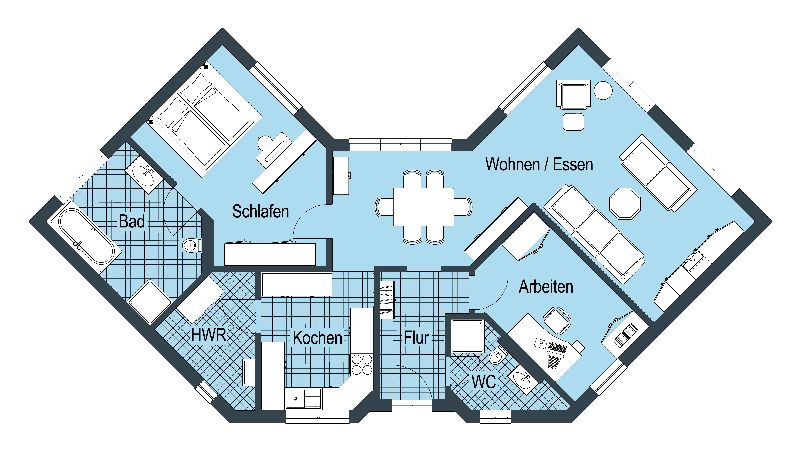 Model casa Top Star 109, Suprafata 130 mp, 3 camere, Proiect Hanlo