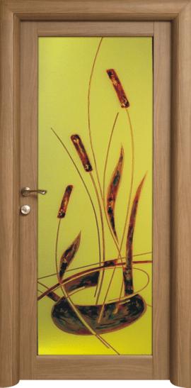 Usa interioara Art 2 cu geam decorat de la Prodecor, pret 998 lei pentru foaia de usa, pret 1262,32 cu totul inclus broasca, balamale, toc.