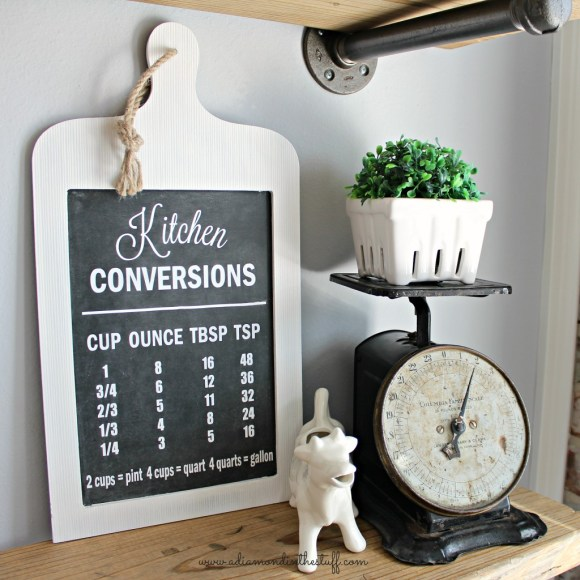 Kitchen Conversions Chalkboard Sign | A Diamond in the Stuff