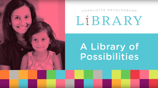 Screen capture from the promotional video featuring a mother and child, the library's logo and the words A library of possibilities