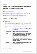Unsecured Loan Agreement - Easy To Edit Template For Lending