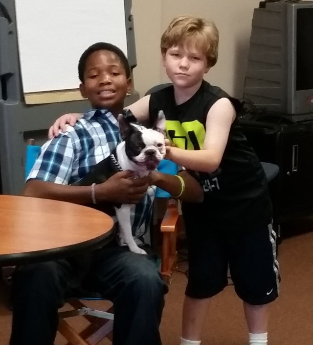 Moe and his friend Matthew and Mo Mo the Boston Terrier.