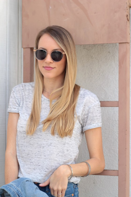 Bella Luxx Marbled Crew Neck Tee & Toms Bellini Champagne Crystal Sunglasses | Adorned With Love