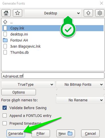 Generisanje fonta - FontForge