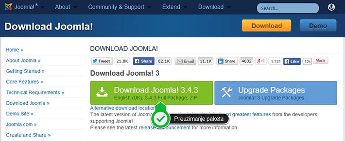 Joomla - preuzimanje instalacionog paketa