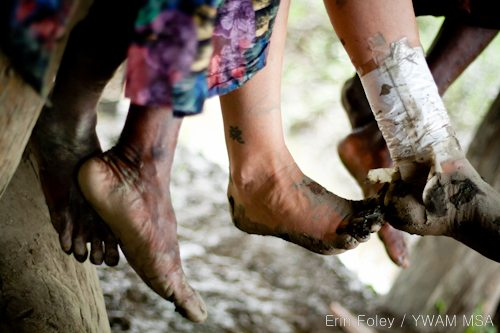 Josephine and Adriel's feet in Bamio, Western Province, Papua New Guinea.