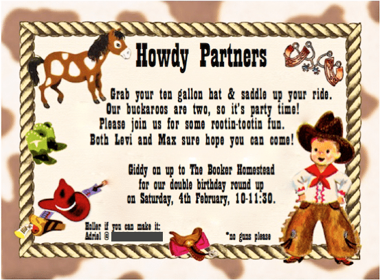 Kids cowboy birthday party – Wild West Party Invites