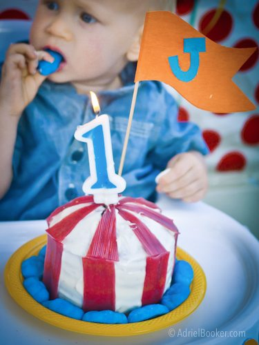 Judah's First Birthday Circus Party – circus tent smash cake.