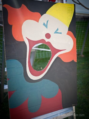 Judah's First Birthday Circus Party - vintage clown bean bag toss party game.
