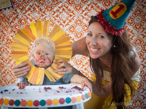 Judah's First Birthday Circus Party smash cake after shots.