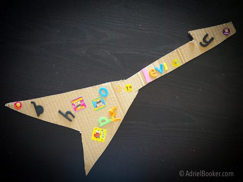 Rockstar Kids Birthday Party Activity: decorate your own guitar