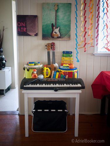 Rockstar Kids Birthday Party musical instrument station