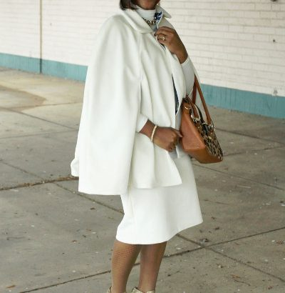 ivory cape and skirt