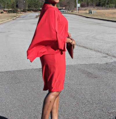 red cape dress