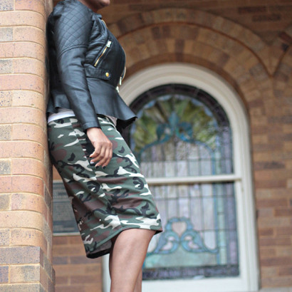 camo pencil skirt & leather Jacket