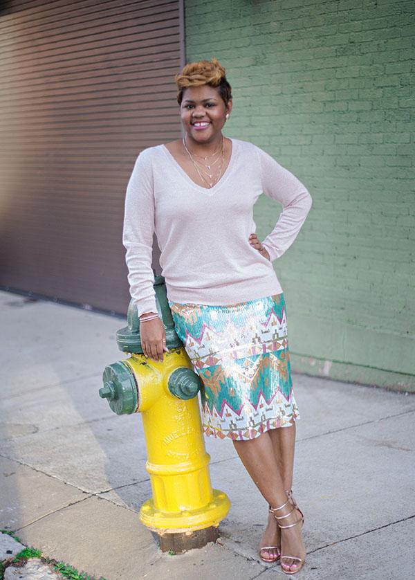 sequin skirt & pink sweater