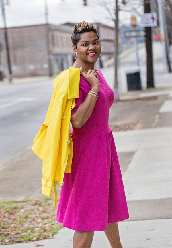 pink dress and yellow jacket