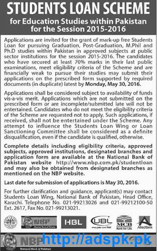 Latest Students Loan Scheme 2015-16 for Education Studies within Pakistan by National Bank of ...