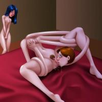 Violet observes as her mother masturbads by winding around her self and munching her labia.