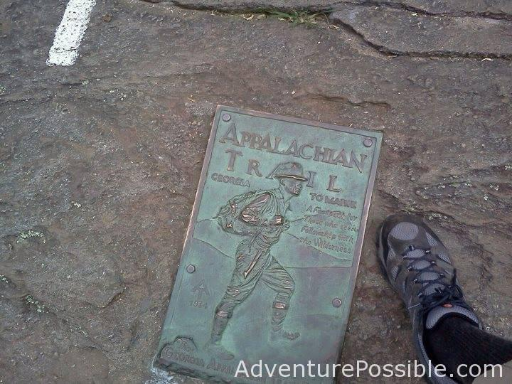 """The first white blaze and plaque at Springer Mountain Georgia, southern terminus of the Appalachian Trail. Photo Credit: Ric """"Stick"""" Green"""