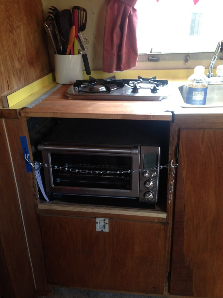 The new oven and range in the Airstream