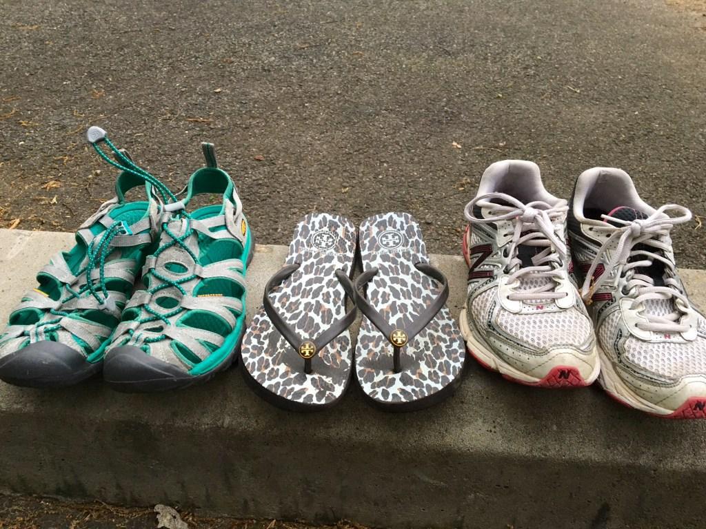 The three amigos. Keens, flip-flops, mom tennis shoes.