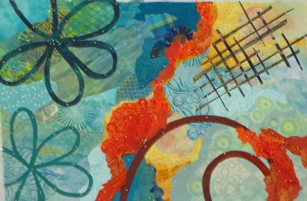 Abstract art quilt in-progress. Ellen Lindner, AdventureQuilter.com/blog