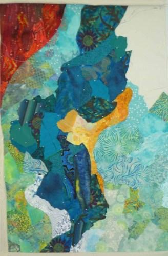 An abstract art quilt under way. Ellen Lindner, AdventureQuilter.com/blog
