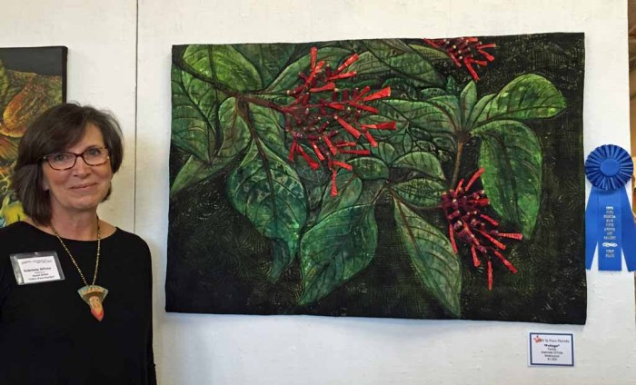 Gabrield DiTota at 100% Pure Florida 2016 exhibit. Ellen Lindner, AdventureQuilter.com/blog