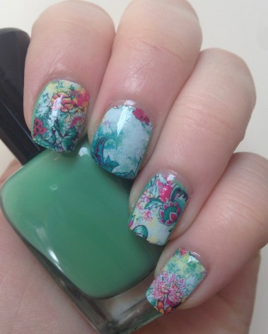 Vintage Floral Nail Art featuring Born Pretty Store Water Decals