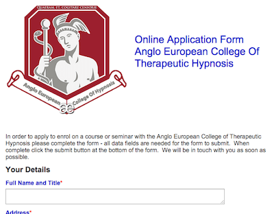 Hypnosis Training Online Application Booking Form