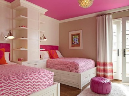 Hot-Pink-Ceiling-Paint-Color-for-Twin-Bedroom-Design-with-Nice-Furniture-Design2-800x598