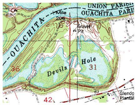 Topographic Map showing Devils Hole, Louisiana