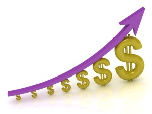 3D Illustration of the growth of the dollar with a lilac arrow on white background