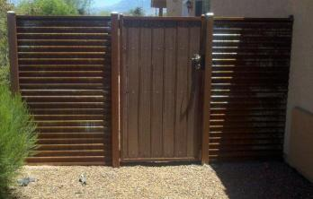 CG102 Synthetic Wood Gate in Corrugated Steel