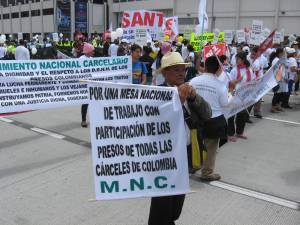 Marching in the streets of Bogotá for peace, justice and the rights of prisoners.