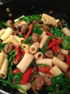 ... Rigatoni with Italian Sausage, Spinach, Mushrooms, and Red Bell Pepper