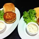 Crab Cake Burgers served with garlic tartar sauce (Photo Credit: Adroit Ideals)